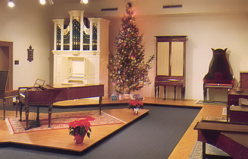 Abell Gallery decorated for winter holidays