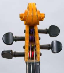 Front of pegbox on Hutchins violin
