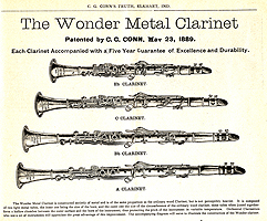 Advertisement for Conn's Wonder Double-Wall Clarinets, 1891