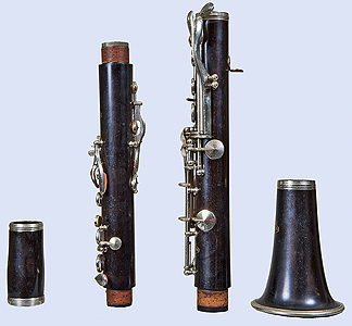 Left side of Leblanc clarinet, disassembled