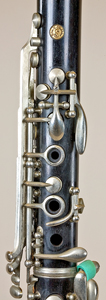 Upper joint keywork on Noblet clarinet