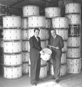 Son and father, William F. Ludwig II and William F. Ludwig Sr., after resumption of regular drum production following World War II.