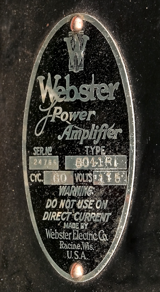 Amplifier By Webster Electric Company Racine Wisconsin 1935