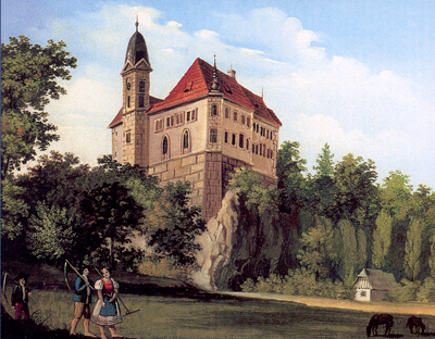 Hrubý Rohozec castle in northern Bohemia as depicted in a 19th century painting.