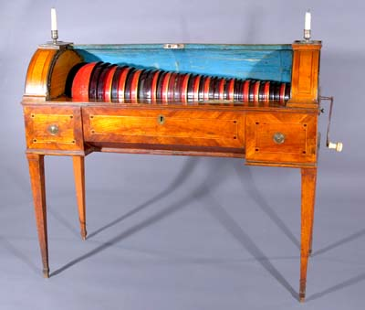 Glass armonica shown in playing position.