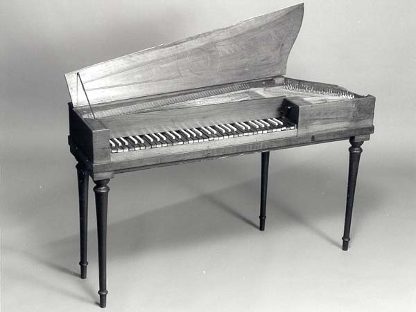 NMM 4570.  Harp-shaped piano by Gottifried Maucher, Konstanz, 1797