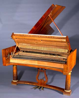 Downstriking action of grand piano by Nannette Streicher und Sohn, Vienna, 1829.
