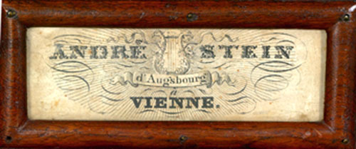NMM 4328.  Name plate on square piano by Andre Stein, Vienna, ca. 1825.