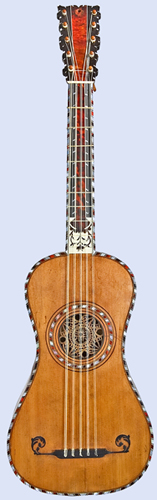 NMM 5581. Guitar by Antoine Aubry, Mirecourt, France, 1779