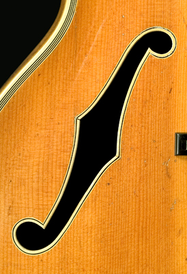 F-hole on D'Angelico guitar