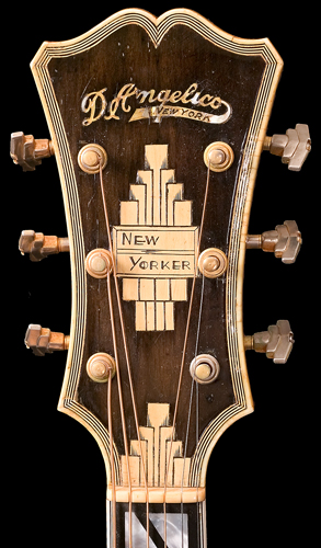 Front of D'Angelico guitar peghead
