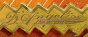 Signature on D'Angelico guitar tailpiece