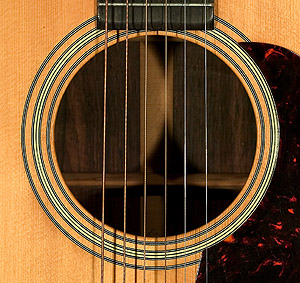 Soundhole of Martin D-28 guitar