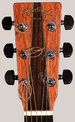 Front of Martin guitar peghead