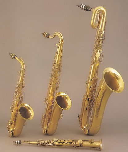 Saxophones made by Adolphe Sax
