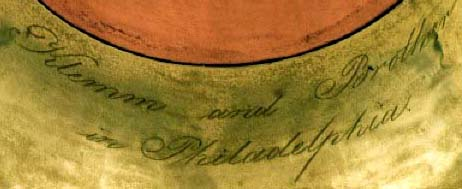 Close-up of signature on Klemm and Brother keyed bugle.