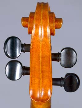 Back view of scroll on violin by Johann Georg Stauffer, Vienna, December 1826.