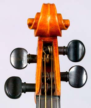 Front view of scroll on violin by Johann Georg Stauffer, Vienna, December 1826.