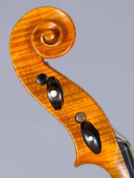Side view of scroll on violin by Johann Georg Stauffer, Vienna, December 1826.