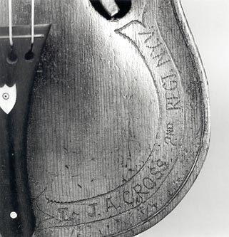 Owner's name incised on violin belly