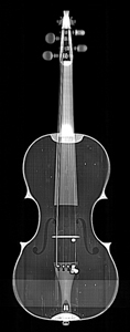 Front view of The King Henry IV violin, from CT scan