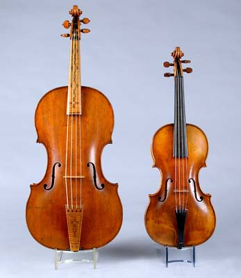 NMM 3371.  Tenor viola by Jacob Stainer, Absam bei Innsbruck, ca. 1650 and NMM 4548.  Violin by Jacob Stainer, Absam bei Innsbruck, 1668.