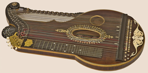 NMM 12881. Alpine zither (Arion harp zither) by Franz Schwarzer workshop, Washington, Missouri, ca. 1920